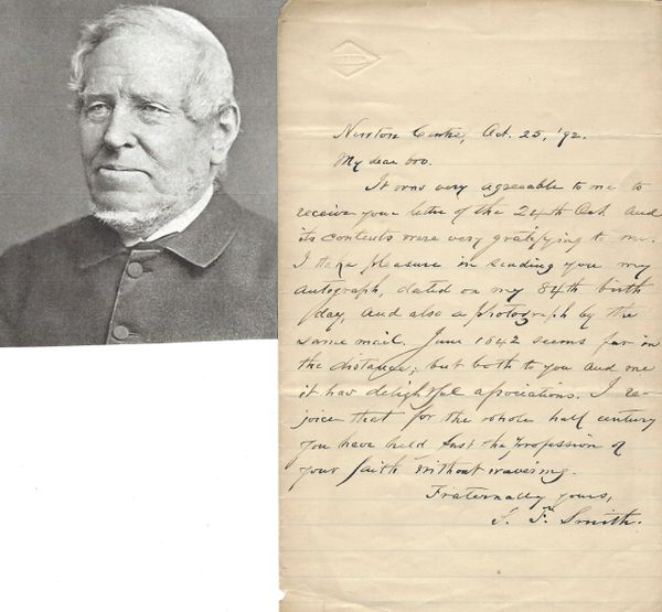 """My Country, 'Tis of Thee"" Author Samuel Francis Smith Offers Autograph, Photograph"