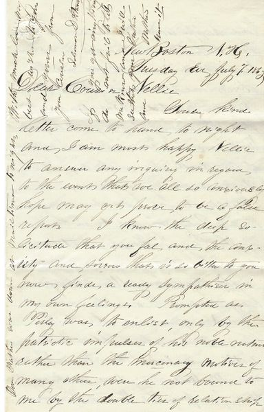 Civil War Letter: NH Postmaster/Republican Writes of Local Dead Soldiers; Gettysburg, Vicksburg Glorious for the Country