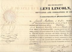 4 Early MA Military Commissions, Signed by Levi Lincoln [Whig Party]