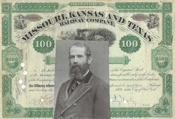Robber Baron Jay Gould Signs Stock Certificate of Missouri, Kansas and Texas Railway; Beautifully Designed