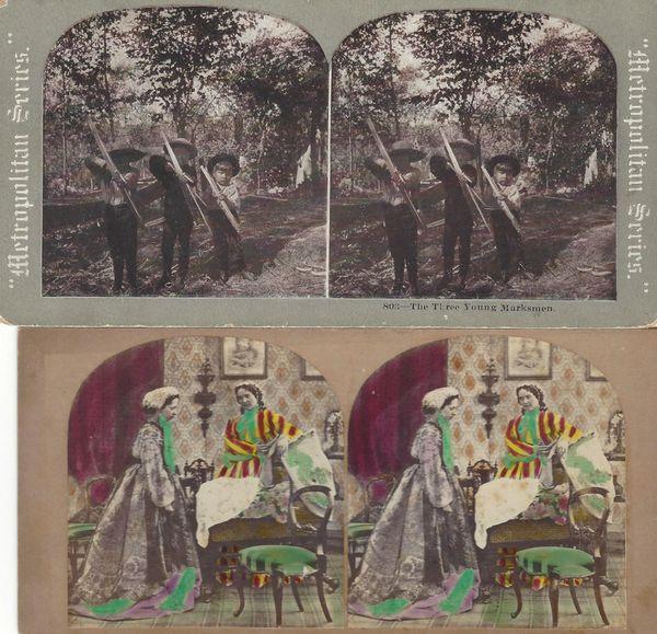 Four Stereoviews: Eskimos, Young Marksmen, The Morning Call