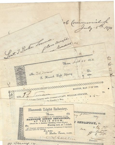 Thomas Larkin Turner, MA Militia, Gets Military Fine and Salute from Comrades -- Six-Piece Archive