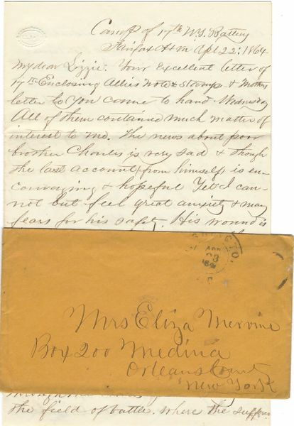 Civil War Letter: Yankee Wounded in Gut May Not Survive Serious Injury -- 17th NY