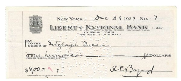 Pioneering American Aviator Richard Byrd -- Signed Check