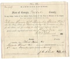1870 Talbot County, Georgia, Marriage License For Colored Residents