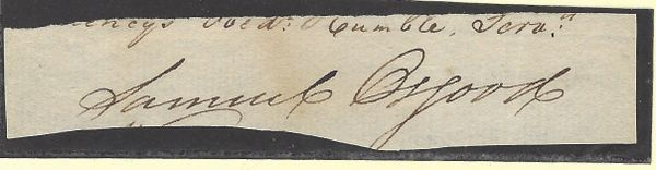 America's First Postmaster General Samuel Osgood Led Battles At Lexington, Concord -- His Signature