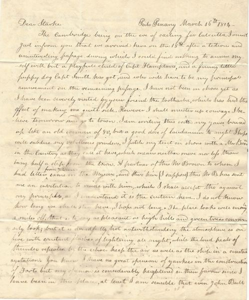 1814 American Merchant Frederick Wm Paine Wants Jefferson Gunboats; Critical Of Sloppy Fort Construction
