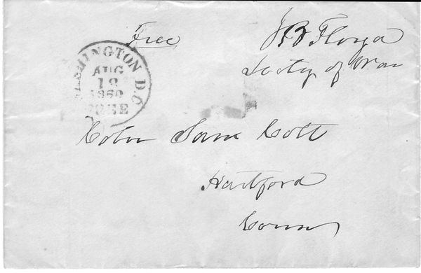 Buchanan Secretary Of War, Southern Sympathizer J.B. Floyd Sent Guns To The South Free Franks Envelope To Gunmaker Samuel Colt