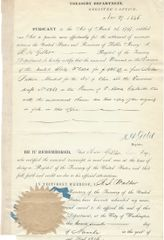 President Polk Treasury Secretary Walker, Register Gillet Sign Treasury Document