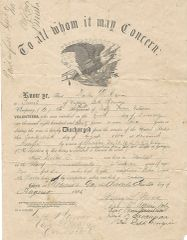 Eagle Discharge For 26th MA Soldier, Battle Of Cedar Creek, Mount Jackson, Brashear City