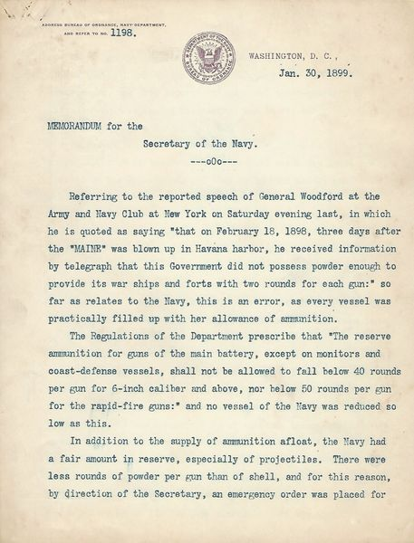 [Spanish-American War] Navy Disputes Ambassador Claim That Entire Arsenal Sank When The Maine Was Destroyed In Havana Harbor