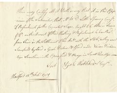 Connecticut Patriot, Commissary Hubbard Certifies Payment For Revolutionary War Troop Supplies In 1781