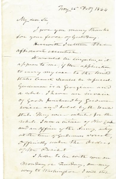 Gen. John E. Wool Faced Legal Action For Confiscating Rebel Goods Upon President Lincoln's Orders