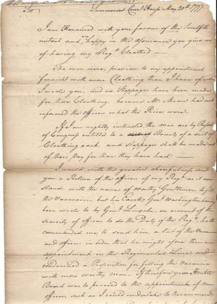Revolutionary War Col. Daniel Brodhead Concerned About Lack of Clothing, Officers for 8th PA; Washington Got Involved