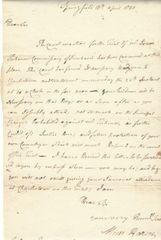 [Gen. George Washington] Revolutionary War Col. Hazen Seeks Testimony For Isaac Tichenor Court Martial
