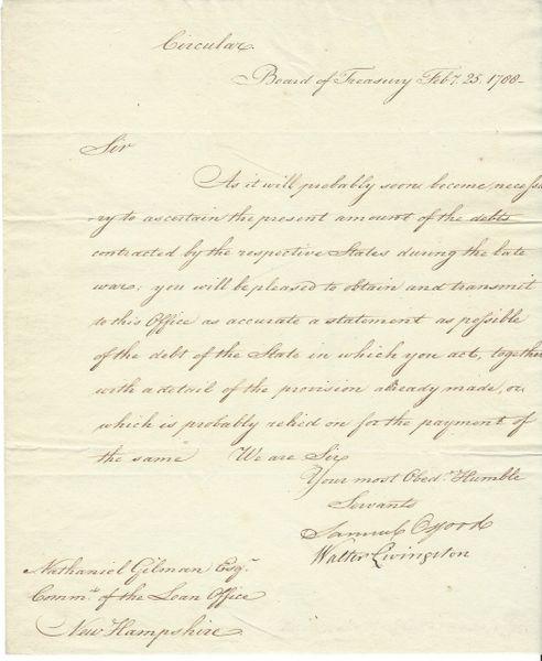 U.S. Treasury Commissioner Samuel Osgood Seeks Accounting Of New Hampshire's Revolutionary War Debt