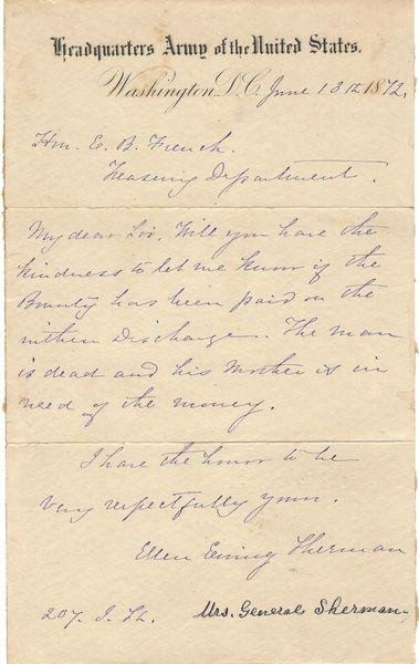 Gen. Sherman's Wife, Ellen, Seeks Bounty For Dead Soldier's Mother