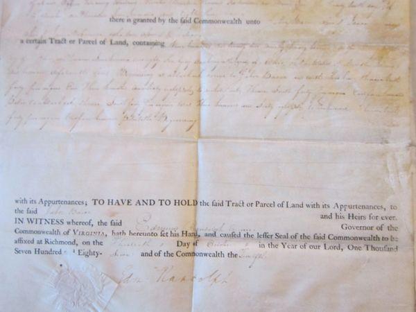 7th VA Governor, Constitutional Convention Delegate Edmund Randolph Signs Land Grant
