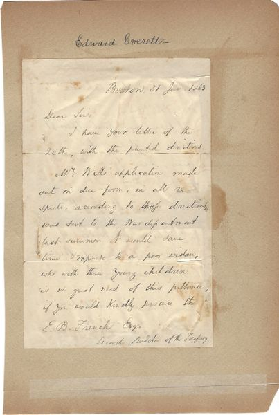 Edward Everett Seeks Pension For Widow Of Civil War NY 40 Killed At Alexandria