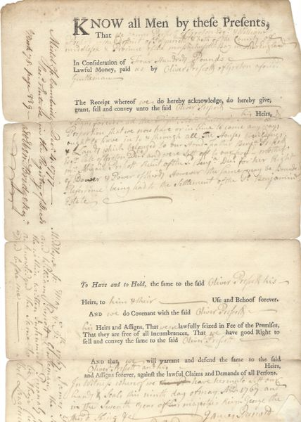 Colonial Massachusetts Prescott Family Deed Signed By Three Revolutionary War Soldiers, Two Fought At Bunker Hill