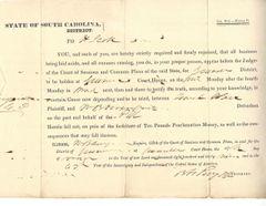Future South Carolina Gov. Perry Seeks Testimony In 1839 Lawsuit