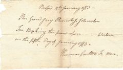 1783 Bedford County, PA, Breaking Jaw Indictment Signed By Pittsburgh Pioneer Thomas Coulter