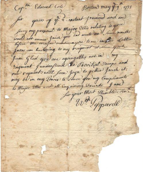 Hero Of Louisbourg Pepperell Writes Of Provincial Troops, Major Ellis, His Regiment