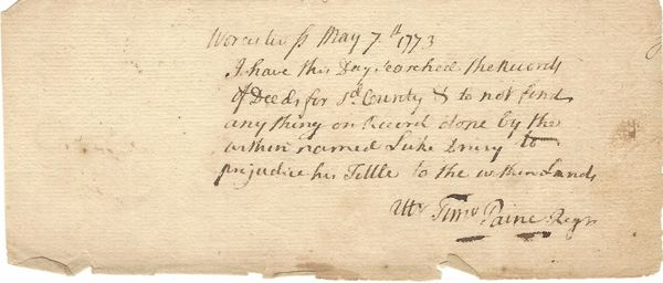 British Loyalist Timothy Paine Offers Land Title Proof For Patriot Luke Drury In 1773