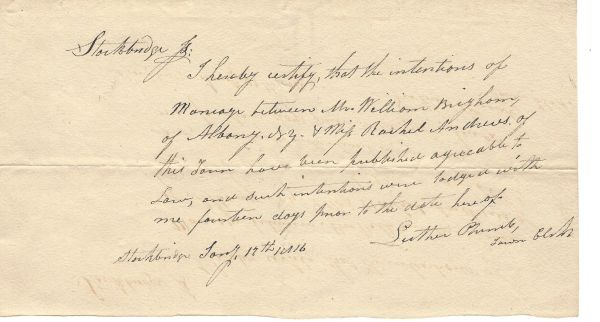1816 Marriage Requirements Met In Stockbridge, MA, for Brigham, Andrews