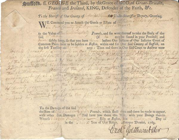 Revolutionary War Instigators Otis And Goldthwait Sign Lawsuit Regarding Sloop Phenix Profits