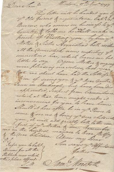 George Washington's First Treasurer, Revolutionary War Gen. Samuel Meredith, Pens Friendly Letter To His Son