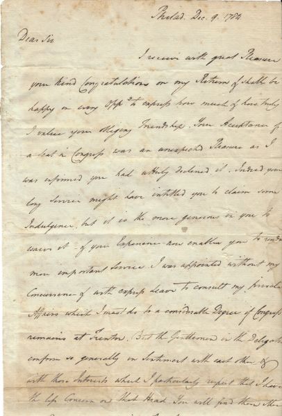 Articles Of Confederation Signer Reed, Secretary To Washington, Congratulates Declaration Of Independence Signer Gerry On Congressional Election; Questions Whether Congress Will Remain In Trenton