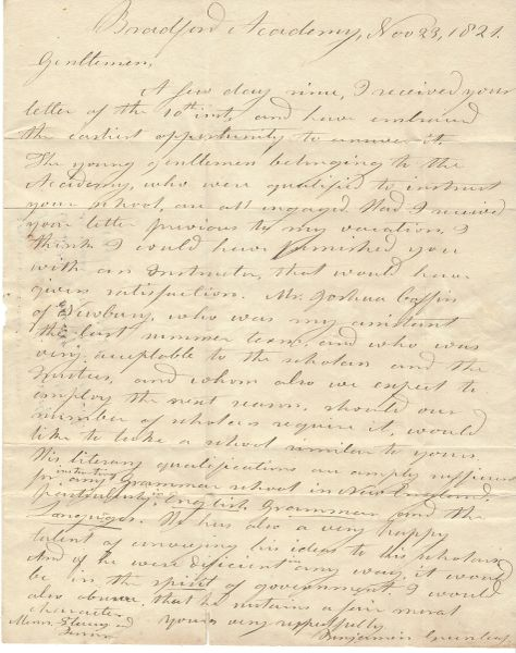 Noted Scholar Benjamin Greenleaf Offers Recommendation, High Praise For Early Massachusetts' Abolitionist Joshua Coffin