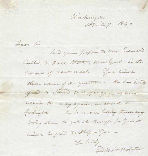 Daniel Webster Offers Assistance To Man Seeking Legislative Help