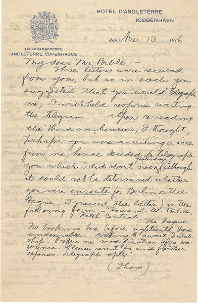 World War I Intelligence Officer Writes Apparent Client About Meeting In Copenhagen, Mentions Dangerous Voyage