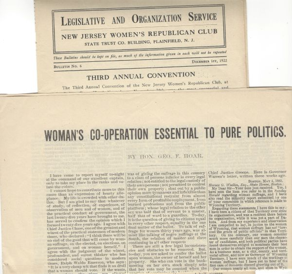 Boston American Woman Suffrage Association Argues For Voting Rights, New Jersey Women Republican Platform Fights Child Labor, Supports Prohibition