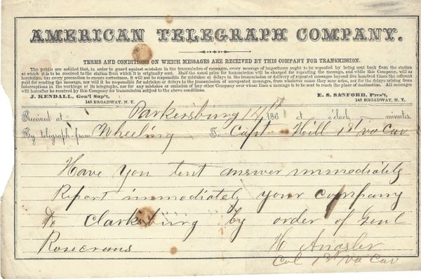 Important Union Telegram For Gen. Rosecrans Led To Victory At Battle Of Carnifex Ferry