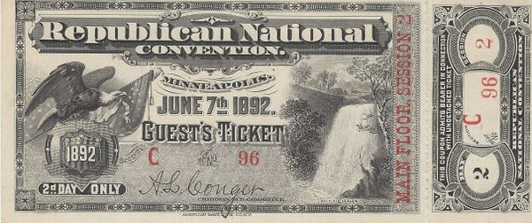 1892 Republican National Convention Historic Ticket And Stub