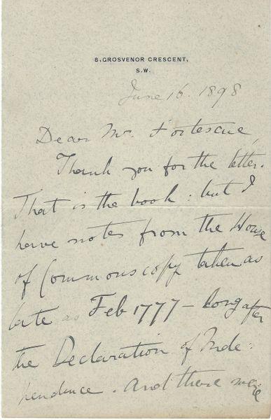 British Statesman, Author George Otto Trevelyan Seeks Information About Published Works On American Revolution