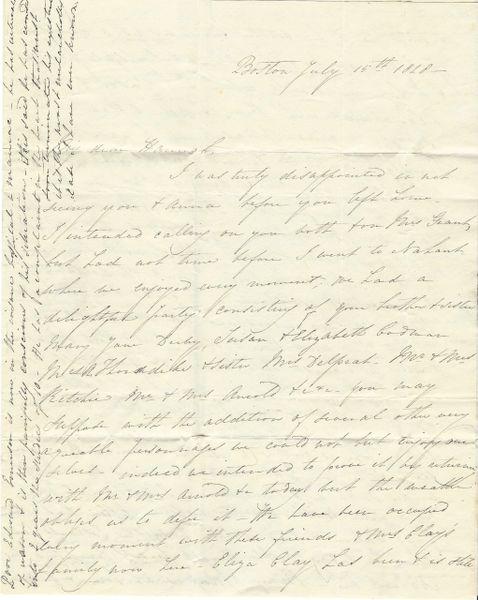 [Wealthy Boston Merchant Family] Early 19th Century Boston Woman Touts Joys Of Hampton Beach, Sadness Of Insane Friend