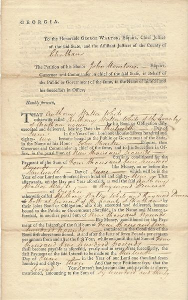 [Declaration Of Independence] George Walton Signs Debt Document For Anthony Walton White, Raymond Demere
