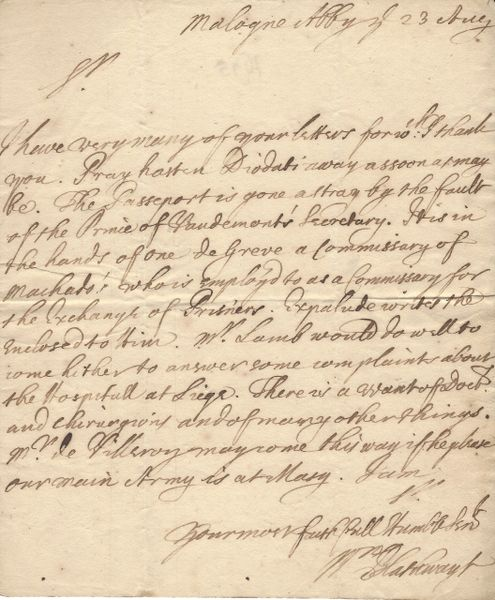 Founder of Massachusetts Colony, William Blathwayt, Complains About Lack Of Surgeons