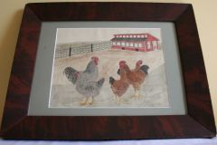 American School Water Color of Chickens Accomplished on Paper