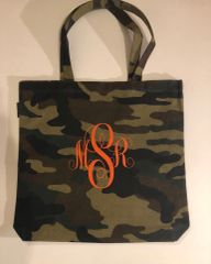 Reusable Everyday Monogrammed Camo Tote