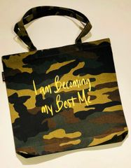 Reusable Becoming My Best Me Camo Tote