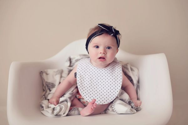 -Handcrafted Triple Layer White with Petite Black Dots Baby Bib