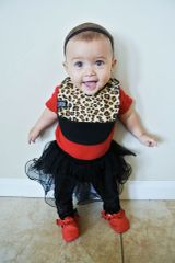 -Handcrafted Triple Layer Jersey Cheetah Baby Bib with Pocket