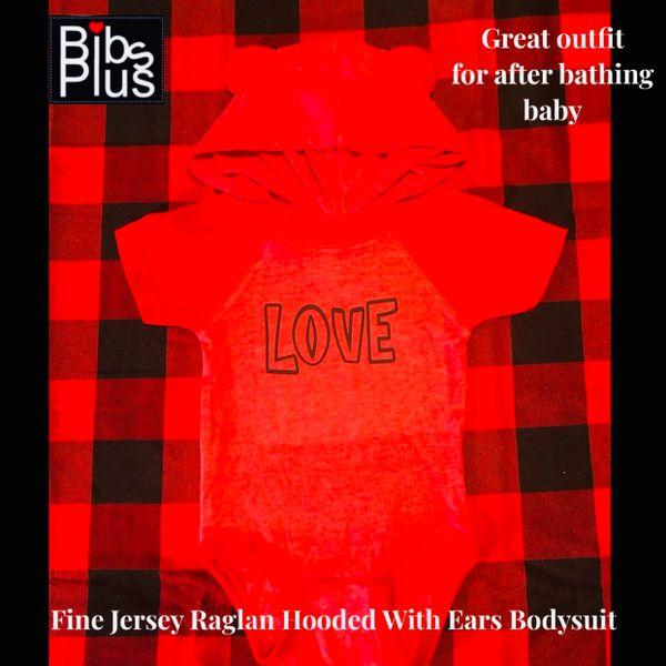 Fine Jersey Red Raglan Hooded With Ears Bodysuit - LOVE