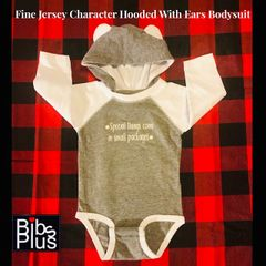 Fine Jersey Gray & White Long Sleeve Raglan Hooded With Ears Message Bodysuit
