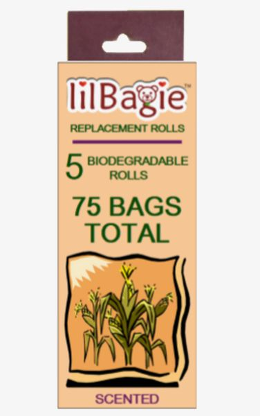 lilBagie Replacement Rolls 5 Rolls (75 Bags) Lavender Scented